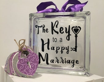 """Guest Book Wish Block  - Glass Block with """"The Key to a Happy Marriage"""" - May Be Personalized for Free - Paper Locks in Coordinating Colors"""