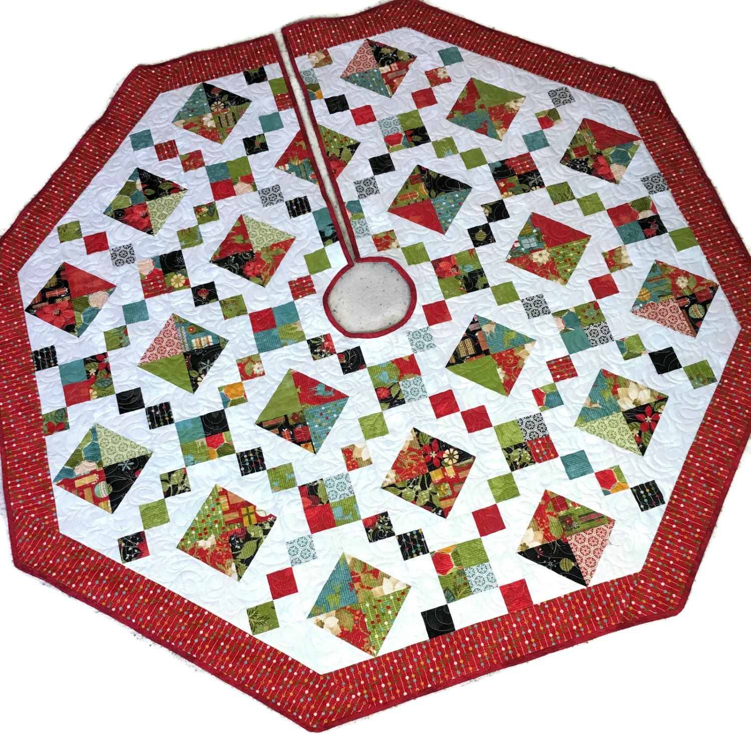 Quilted Christmas Tree Skirt Pinterest : Quilted Christmas Tree Skirt Jewel Box Tree by QuiltSewPieceful