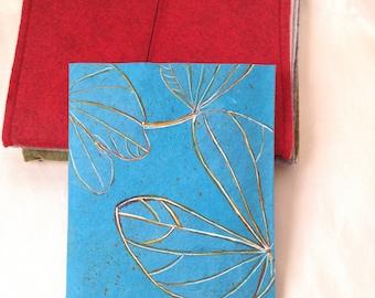Midori, fauxdori, Cerulean Blue, Travel journal set  pocket notebook set, paper folio