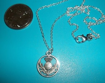 Thistle NECKLACE, Hanging CHARM Necklace, inspired by the SCOTTISH Highlands, Highlander
