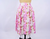 """1950s skirt vintage 50s pink purple fruit basket novelty print full skirt W 30"""" L"""