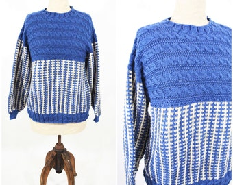 1980s knit sweater | blue knit handmade pullover sweater | vintage 80s sweater | W 38""
