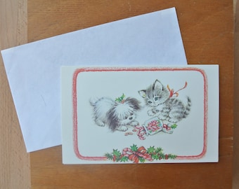 Uber Cute Vintage Christmas Card Kitty Cat & Puppy Dog Playing