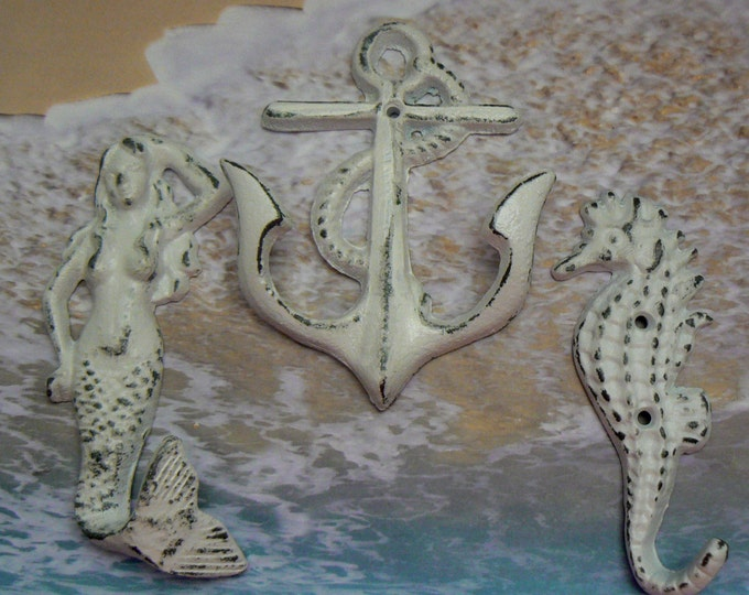 Mermaid Anchor Seahorse Cast Iron Wall Hook Set of 3 White Shabby Chic Cottage Chic Beach House Home Decor