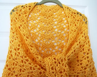 Crochet Shawl Yellow Sunshine Gold Sweetheart Shawl Wrap Three Corner Stole Intricate Drape