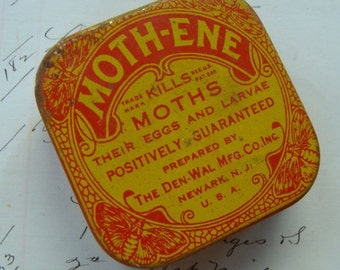 Antique Rare and Gorgeous Moth Tin with Wonderful Graphics
