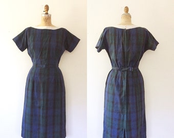 1950s plaid dress / 50s cotton dress / Straithorn dress