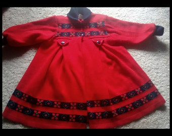Adorable Vintage Red and Navy Babydoll Sweater Cardigan
