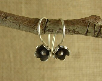 Blossom Ear Wires With Stamped Petals - Hill Tribe Fine Silver - Thai Fine Silver Ear Wires - fhboxhtfs