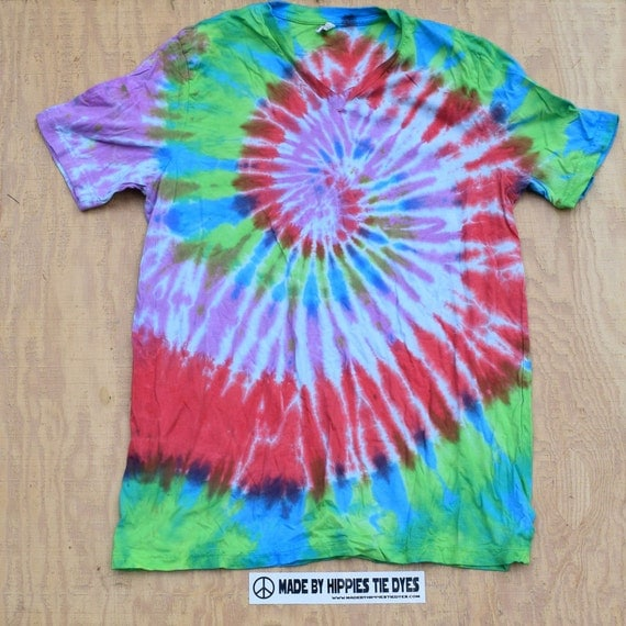 Sweet Shores Spiral Tie Dye V-neck T-Shirt (Bella Canvas Size XL) (One of a Kind)