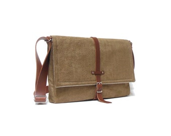 "13"" / 15"" MacBook Pro Retina messenger bag - camel brown herringbone"