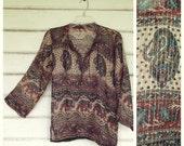 VINTAGE 70s INDIA gauze bohemian blouse shirt