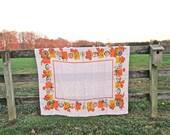 THANK YOU Thanksgiving Tablecloth / Vintage 70's / Natural Linen / Harvest Autumn Colors