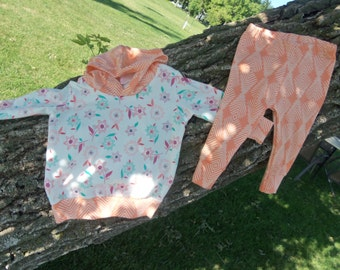 Baby Girl Sized 6-9 month Hoodie/Leggings Outfit in Floral and Feather Design