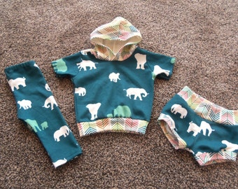 Baby Boy Sized 3-6 Outfit With Hoodie, Shorts and Long Pants in The Herd Teal Design