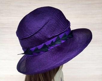 Womens Straw Hat, Parisisal Straw, Purple Cloche, Summer Hat, Sun Hat