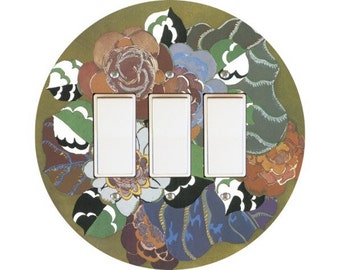 Floral Art Deco Art Nouveau Triple Decora Rocker Switch Plate Cover