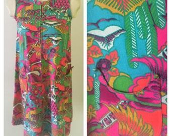Vintage vibrant amazing barkcloth Hawaiian dress