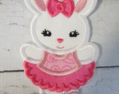 Girl Bunny Ballerina - Iron On or Sew On Embroidered Custom Made Applique