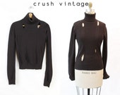 Christian Dior Sweater Small / 1980s Vintage Brown Cut Out Turtleneck / Peek a Boo Sweater