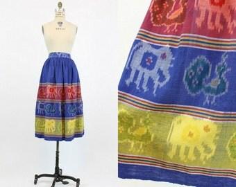 70s Skirt Ethnic Small / 1970s Vintage Animal Print Cotton Skirt / Elephants and Birds Skirt