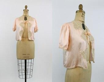 40s Bed Jacket  / 1940s Vintage Jacket Silk Lace Lingerie /  Alewa Heights Bed Jacket