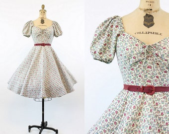 50s Dress Rose Print XS / 1950s Vintage Dress Cabana Original Peasant / Roses and Wine Dress