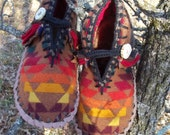 Ode to the Old Oak - Felted Blanket Wool Moccasins / Lined / Sheepskin & Leather with Sinew Sewn Soles - Women's Sizes