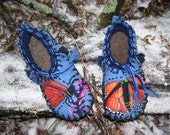 Release of the Monarchs Into the Blue Shoes- Wool  Lining /Felted Blanket Wool / Sheepskin & Heavy Leather Soles Shoes/  Moccasins