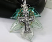 Handmade Murano Glass Cross Pendant Necklace, Rhinestone Cross ,Wire Wrapped, Christmas, Gift for Her