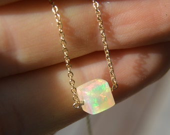 Ethiopian Opal Cube Necklace on Gold