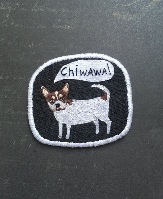 Textile Dog Brooch with Chiwawa -  Funny Dogs - collection, hand embroidered textile jewelry, pet portrait brooch. Chihuahua jewelry.