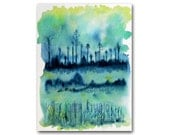 Landscape Watercolor Painting 9x12 Abstract Expressionist Fine Art Green Blue Aqua Wall Decor Original Art Trees Fields Modern Art Under 100