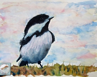Chickadee Watercolor Painting Original Fine Art Black and White Songbird and Sky Painting Contemporary Art Interior Design Small Wall Decor