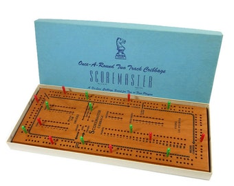 Vintage De Luxe Cribbage Board | Game Toy | Original Box | Scoremaster Wooden Board | Large 2 Track | Game Pieces | Collectible | USA