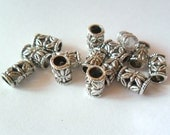 15 pcs, Tube Spacer Beads, 9x6mm, Antique Finish Lead Free Pewter