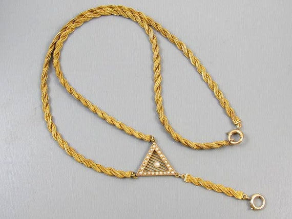 Antique Edwardian 14k braided woven gold seed pearl Y necklace for pendant
