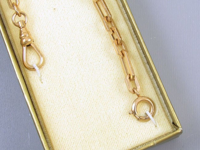 Vintage chunky gold filled signed Le Stage pocket watch chain NOS new old stock unused mint condition