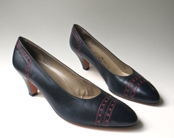 vintage Salvatore Ferragamo Navy Blue Leather Pumps with Red Perforated Leather Details / Saks Fifth Avenue / made in Italy