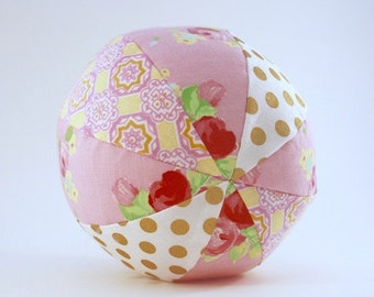 Soft Rattle Ball with Metallic Gold Polkadots in Pink Floral - Baby Toddler Toy - Modern Heirloom Toy - Ready to Ship