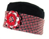 Warm Woman's Hat from Upcycled Felted Wool - Red Black White with Flower Brooch Pin