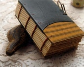 RESERVED Ponderings - Forest Green Leather & Fabric Journal, Primitive, Tea Stained Pages, OOAK