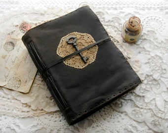 Contemplation - Large Rugged Reclaimed Leather Journal, Vintage Key & Doily, Aged Paper - OOAK
