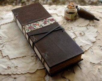 Tapestry Tales - Large Dark Brown Leather Journal, Ledger Style, Aged Paper - OOAK