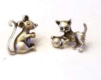 Adorable Cat and Mouse Tack Pins Vintage Figurals Lapel Pins