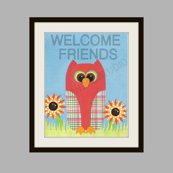 FREE SHIPPING- Childrens Art Print, Kids Room Decor, Owl, Sunflower, Nursery, Baby Shower, Housewarming, 8x10 Art Print, Personalized