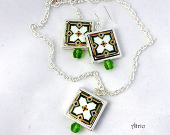 Portugal Antique Azulejo Tile Replica Necklace and Earrings SET 925 SILVER - Reversible!  Gift bag included!  Custom Tiles Available!
