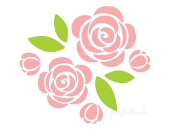 Nursery room decals flower wall sticker vinyl wall decal rose rose