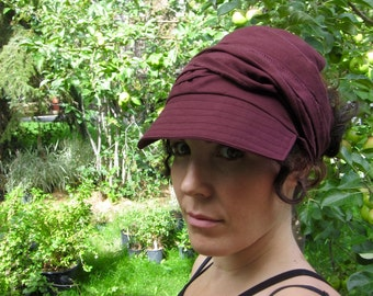 Linen Wrap Cap in Chocolate Brown