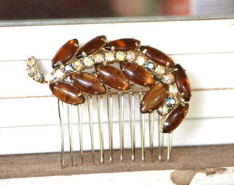 Vintage Upcycled Brown Clear AB Rhinestone Navette Marquise Leaf Hair Accessory Hair Comb Bridal Wedding